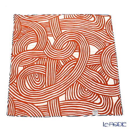むす美 風呂敷 綿100% 日本製 20479-125チーフ伊砂文様両面ふろしき 結アイオレンジ 48cm