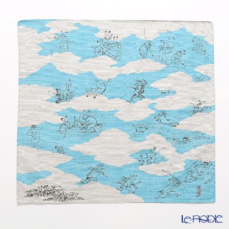 むす美 風呂敷 綿100% 日本製 20826-101チーフ鳥獣人物戯画 雲取り ブルー 48cm