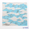 Musubi 'Choju Jinbutsu Giga (Rabbit & Frog) with Clouds' Blue Cotton Furoshiki Cloth 48cm