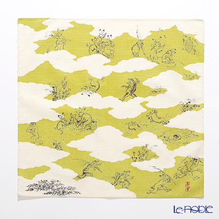 むす美 風呂敷 綿100% 日本製 20826-102チーフ鳥獣人物戯画 雲取り グリーン 48cm