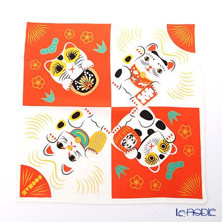 むす美 風呂敷 綿100% 日本製 20464-105 48 福コチャエ 招き猫コウハク 48cm