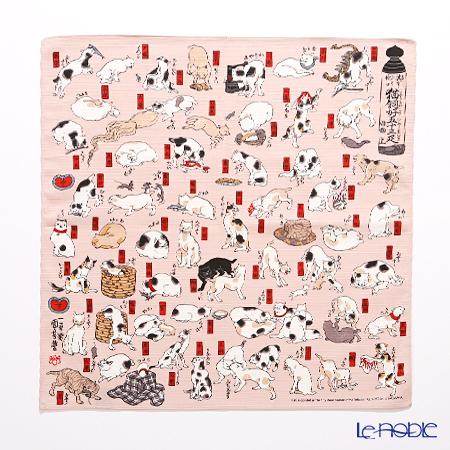 むす美 風呂敷 綿100% 日本製 20720‐114 チーフ隅田川 猫飼好五十三疋 ピンク 48cm
