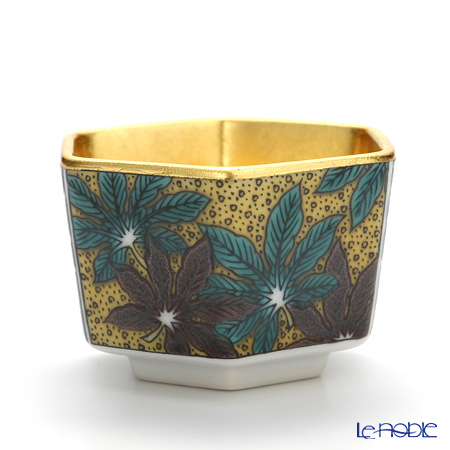 Hakuichi x Kutani Ware / Gold Leaf 'Yoshidaya pattern' Gold & Yellow Green Hexagonal Sake Cup