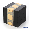 Hakuichi / Gold Leaf 'Kodai-haku / Ancient Foil' Gold x Black 3 Tier Jubako Box 15x15xH16cm