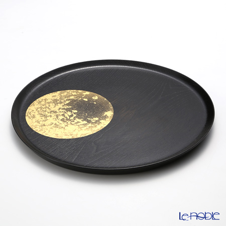 Hakuichi / Gold Leaf 'Oboro-zuki / Hazy Moon' Gold & Black Lacquered Wood Plate Tray 30cm