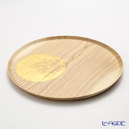 Hakuichi / Gold Leaf 'Oboro-zuki / Hazy Moon' Gold Natural Wood Plate Tray 30cm