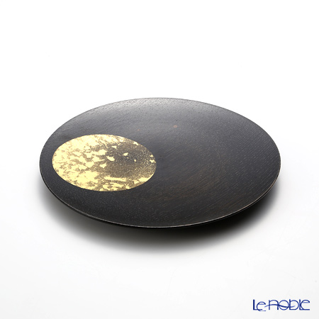 Hakuichi / Gold Leaf 'Oboro-zuki / Hazy Moon' Gold & Black Lacquered Wood Plate 18cm