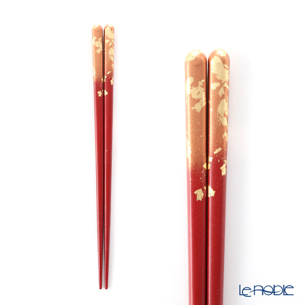 箔一 金の箸銀の箸 霞流し 茜(M) 21cm