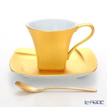 箔一 無垢 スクエア コーヒーカップ&ソーサー(スプーン付) A161-03018