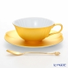 Gold-leaf solid oval A161-03019 Tea Cup & Saucer (with a spoon)