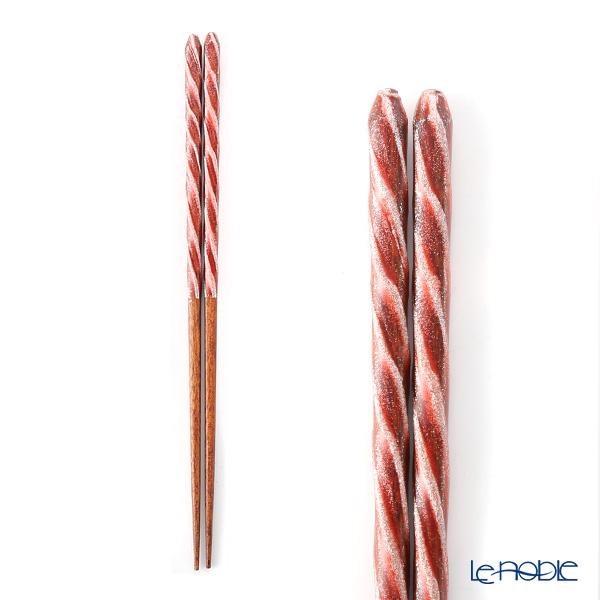 箔一 金の箸銀の箸 螺旋(赤) 23cm