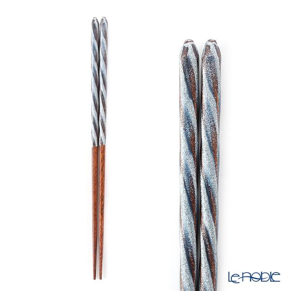箔一 金の箸銀の箸螺旋(青) 23cm