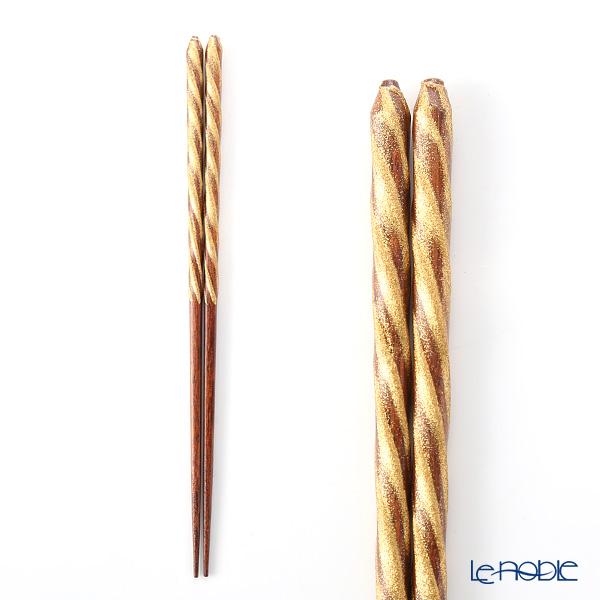箔一 金の箸銀の箸螺旋(金) 23cm