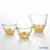 Hakuichi / Gold Leaf 'Kan-nyu / Crack' Gold & Clear Sake Cup & Lipped Bowl (set of 3 for 2 persons)