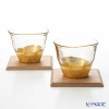 Hakuichi / Gold Leaf 'Kan-nyu / Crack' Gold & Clear Cold Tea Cup & Wooden Tray (set of 4 for 2 persons)