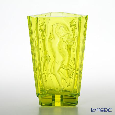 Frantisek Halama 'Morning, Noon, Evening' Uranium Glass FH-1694 Triangular Vase H21cm