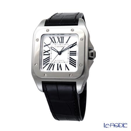 Cartier Santos 100 Ladies Watch Quartz, medium model, steel, leather, W20106X8