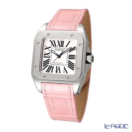 Cartier Santos 100 Ladies Watch Quartz, medium model, steel, leather, W20126X8