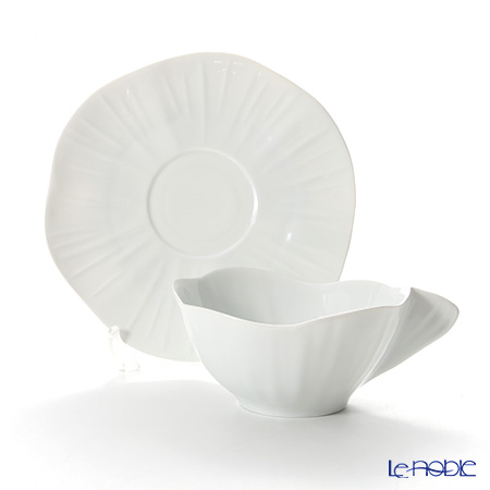 Jacques Pergay / Limoges 'Lotus / Leaf' JP0104LOWH Breakfast Cup & Saucer 390ml
