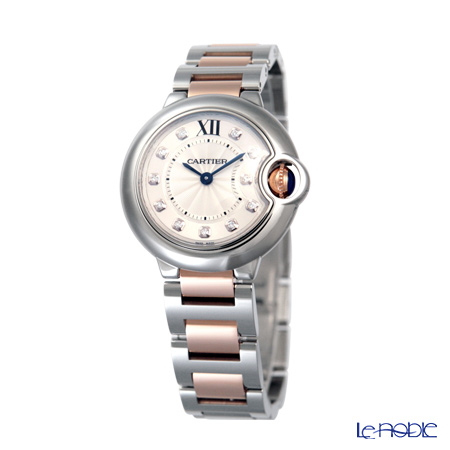 Cartier Ballon Bleu De Cartier Ladies Watch Quartz, 28 mm, 11 diamond, steel, WE902030