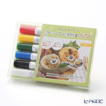 ラップにかけるペン 水性顔料インク 6色セット 赤、黄、緑、青、黒、白