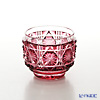 Satsuma Vidro Industrial Arts, Satsuma Kiriko, Sake Glass Octagonal cut, Gold-Red A/1101