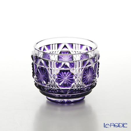 復元薩摩切子 猪口A/1102 八角籠目 紫