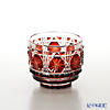 Satsuma Vidro Industrial Arts, Satsuma Kiriko, Sake Glass Octagonal cut, Copper-Red A/1103