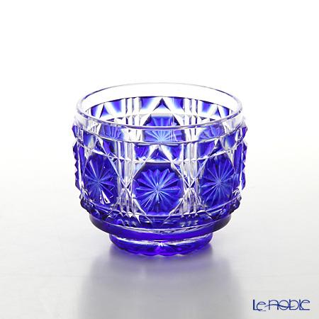 Satsuma Vidro Industrial Arts, Satsuma Kiriko, Sake Glass Octagonal cut, Lapis lazuli 1107 萨摩切子复原 酒盅 A/1107 八角笼目纹 琉璃