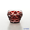 Satsuma Vidro Industrial Arts, Satsuma Kiriko, Sake Glass Diamond cut, Copper-Red 1403 萨摩切子复原 酒盅 小/1403 矢来鱼子纹 铜红