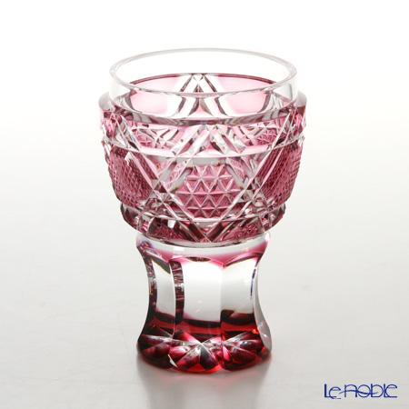 薩摩切子 馬上杯/20501 六角籠目に麻の葉小紋 金赤