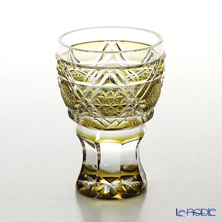 薩摩切子 馬上杯/20504 六角籠目に麻の葉小紋 黄