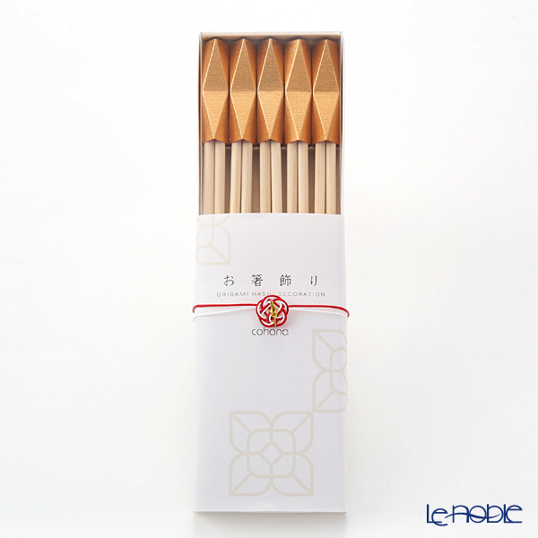 cohana 'Origami - Ore' Gold Celebration Hinoki Chopsticks & Paper Chopstick Rest (set of 10 for 5 persons)