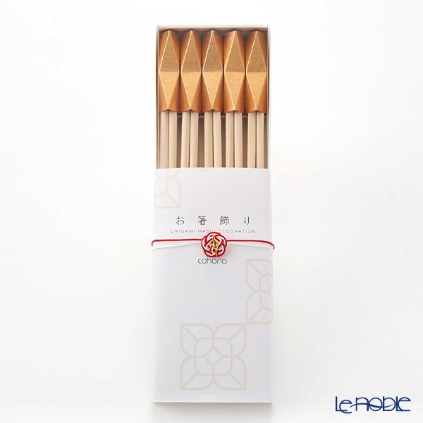 cohana 折り紙式 お箸飾り・箸置き 鉱石 金5個セット 24cm祝い箸付 HD-716-GO5