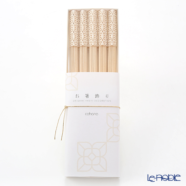 cohana 'Origami' White Rikyu Chopsticks & Paper Chopstick Rest (set of 10 for 5 persons)