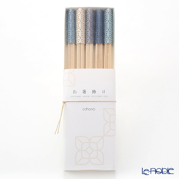 cohana 'Origami - Ai-kaze' Blue Rikyu Chopsticks & Paper Chopstick Rest (set of 10 for 5 persons)