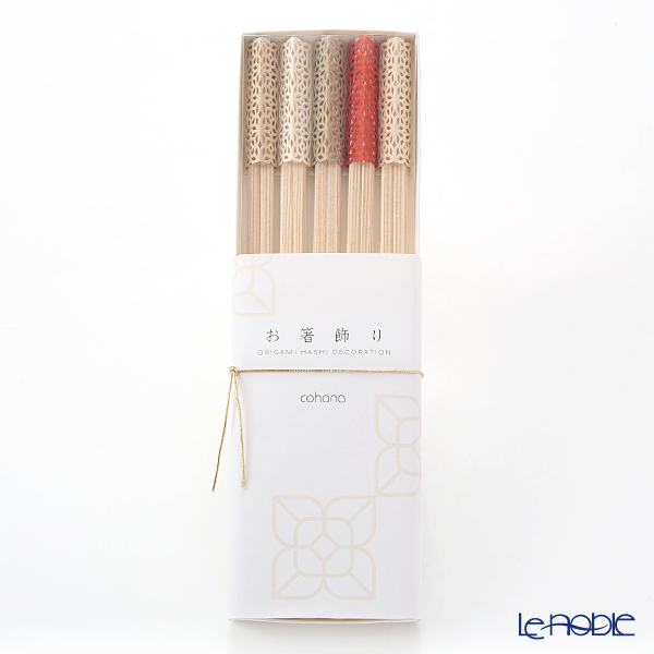 cohana 'Origami - Oiwai (Celebration)' Assorted Color Rikyu Chopsticks & Paper Chopstick Rest (set of 10 for 5 persons)