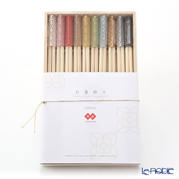 Cohana 'Origami - ISEMITATE' Assorted Color Celebration Hinoki Chopsticks & Paper Chopstick Rest (set of 20 for 10 persons)