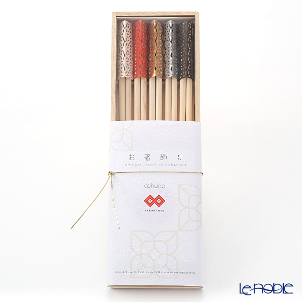 Cohana 'Origami - ISEMITATE' Assorted Color Celebration Hinoki Chopsticks & Paper Chopstick Rest (set of 10 for 5 persons with wooden box)