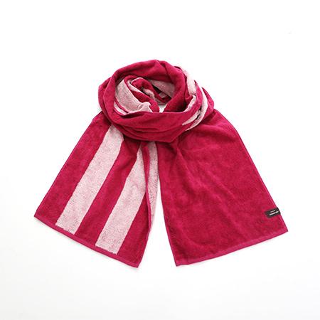 今治タオル リバーシブルロングタオル マフラー ピンク UVカット加工 綿100% 25×180cm