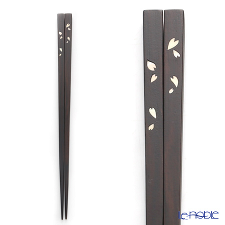 Wakasa Lacquerware 'Issou - Hito Hira Sakura / Cherry Blossom Petals' Shell Inlay Chopsticks 23cm