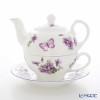 Ansley English violet Tea cups and saucers (one for Kettle)