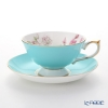 Aynsley 'Elizabeth Rose Pink' Turquoise Blue Athens Tea Cup & Saucer 200ml
