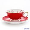 Aynsley Elizabeth Rose Athens Teacup & Saucer, red #3056