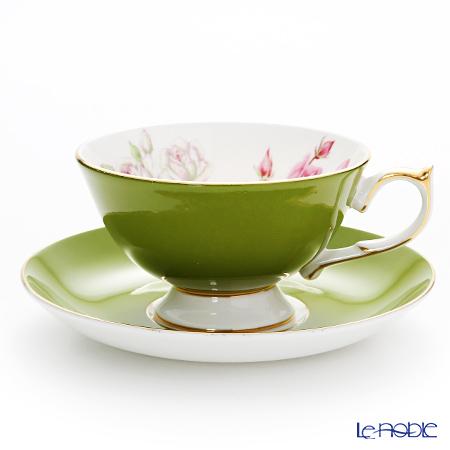 エインズレイ エリザベスローズ ピンク #3056 ティーカップ&ソーサー(アセンズ) ミルグリーン 200ml