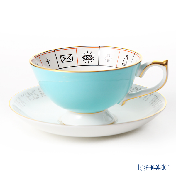 Aynsley 'The Nelros Cup of Fortune' Turquoise Blue Tea Cup & Saucer 200ml