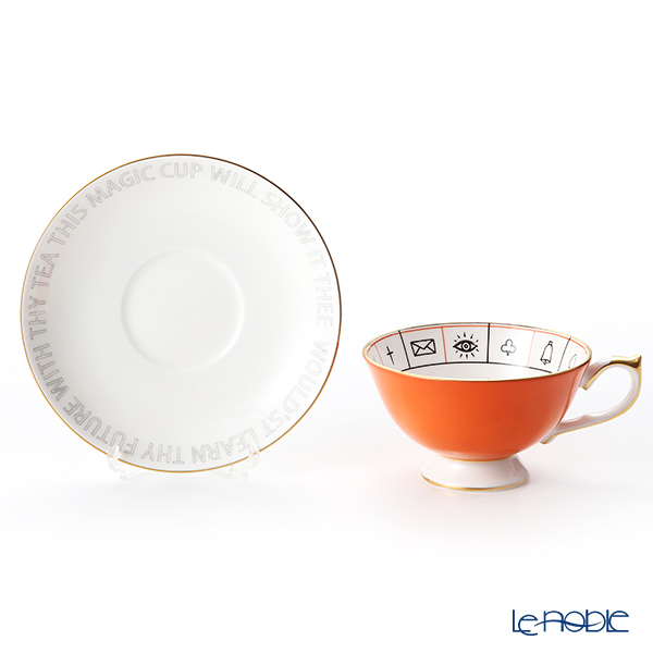 Aynsley 'The Nelros Cup of Fortune' Coral Orange Tea Cup & Saucer 200ml