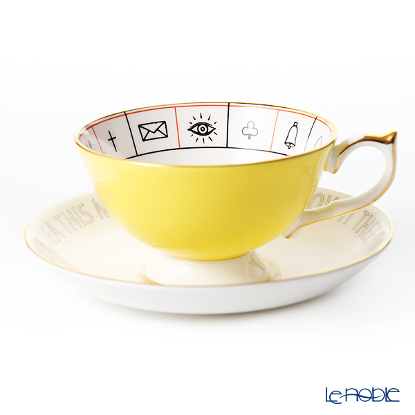Aynsley The Nelros Cup of Fortune Fortune Telling Teacup & Saucer 200 ml, yellow
