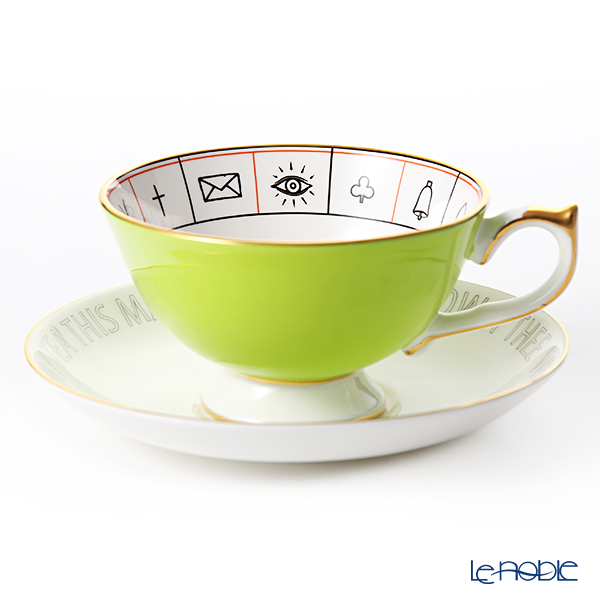 Aynsley 'The Nelros Cup of Fortune' Lime Green Tea Cup & Saucer 200ml