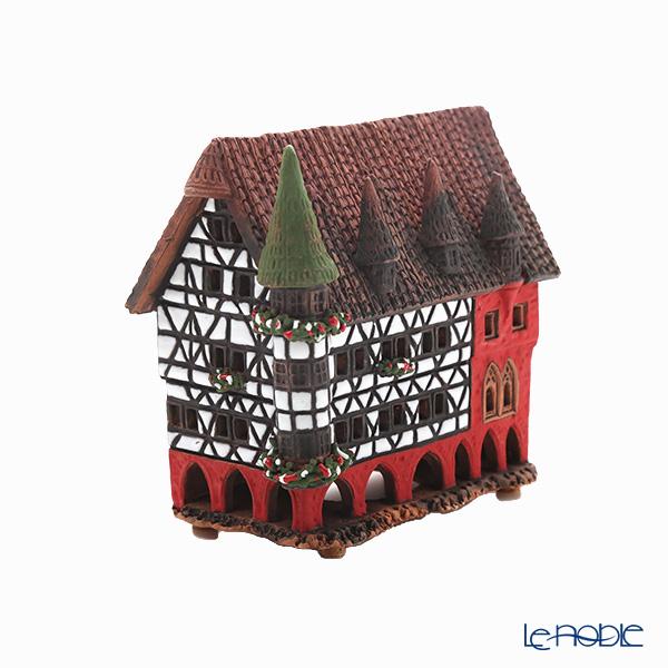 北欧リトアニア製陶器 ミデン MIDENE キャンドルハウス ミニチュアハウス 香台付 ドイツ フルダの市役所 LEDキャンドル付 A210N